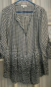 Chau's New York black and white check silky tunic